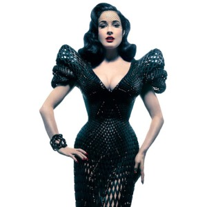 Dita Von Teese shows off her 3D printed dress, by Bitonti and Schmidt.